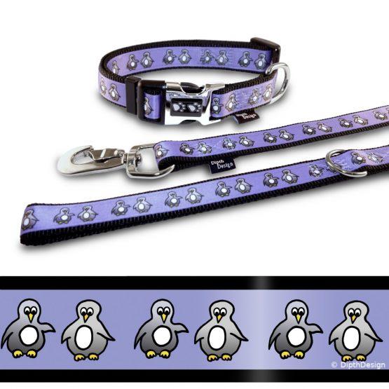 Hundehalsband und Leine Pinguin DipthDesign