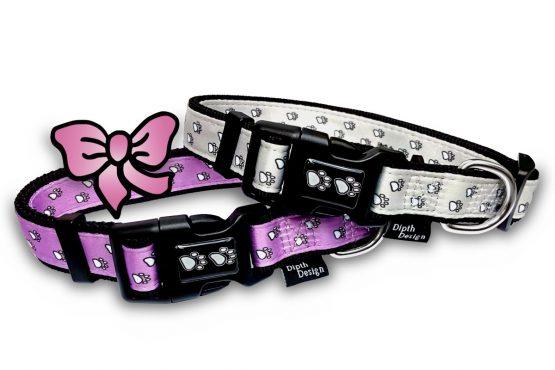 Halsband Hundehalsband Design Pfoten pink creme-weiß